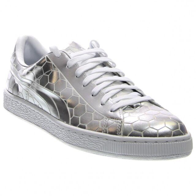 f58b6a458599 PUMA Basket Classic Metallic Mens Silver Patent Leather SNEAKERS ...