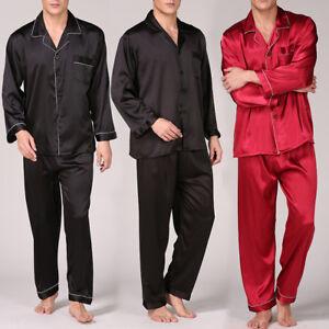 9bc4a7d40b34b Homme Soie Satin Pyjama Manches Longues Pantalon Lingerie de Nuit ...