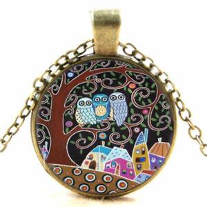 Vintage-Bronze-Eule-Owl-Glas-Cabochon-Anhaenger-Charm-Halskette-Modeschmuck