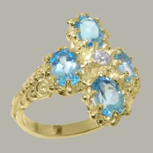 14ct-Yellow-Gold-Natural-Diamond-amp-Blue-Topaz-Womens-Cluster-Ring-Sizes-J-to-Z