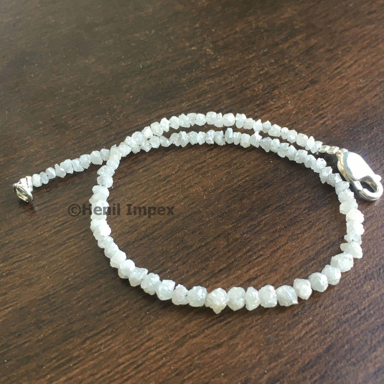 8.50+ TCW natural diamond white color rough loose diamonds beads 8.00  bracelet