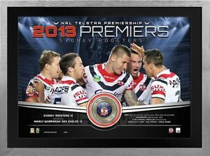 SYDNEY-ROOSTERS-2013-FRAMED-PREMIERSHIP-LIMITED-EDITION-MEDALLION-PRINT