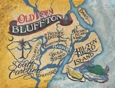 Bluffton SC coastal retro map Print art decor  Beach south carolina  hilton head