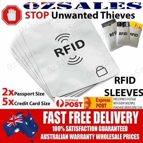 2x Passport & 5x ID RFID Blocking Credit Card Sleeve Shield Holder Protector 2