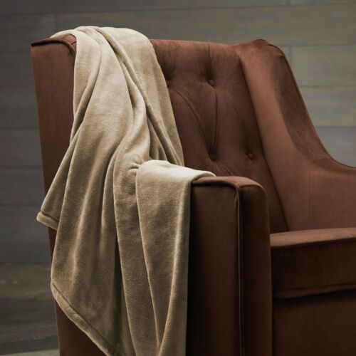 Solid Beige Blanket Bedding Throw Fleece King Super Soft Warm Cream