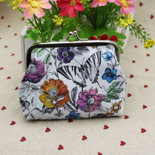 Vintage Printed Womens Floral Coin Purse Buckle Wallet Small Case Pouch Handbag