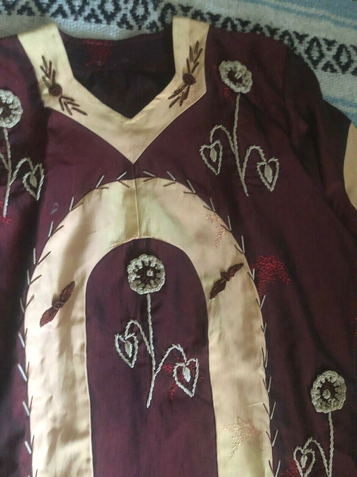 Vtg 60s 70s Ethnic PATCHWORK Crochet FLORALEmbroi… - image 6