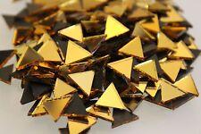 Azulejos de mosaico Triangular De Oro Espejo (aproximadamente - 10mm) 1.6 mm de espesor, 100 piezas