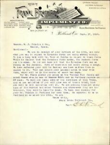 1891 Portland Oregon (OR) Letter Frank BrothersImplement Co.