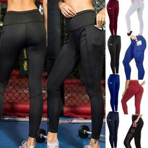 Women-Yoga-Pants-Pockets-Leggings-Gym-High-Waist-Fitness-Sports-Stretch-Workout