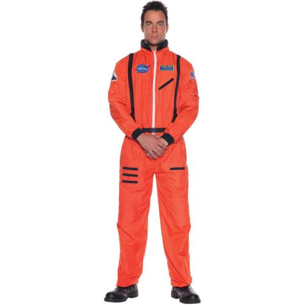 ef174e97fc9e Astronaut Orange Suit Teen Adult Mens Costume Space Moon Jumpsuit NASA  Halloween
