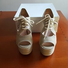 MIU MIU WOMEN ITALIAN CANVAS PLATFORM WEDGES SIZE 35