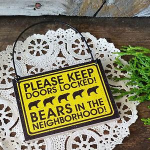 Decowords-Door-Knob-Mini-Sign-KEEP-DOORS-LOCKED-BEARS-CABIN-Warning-Lodge-USA