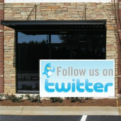 Details about  /Follow Us On Twitter Vinyl Banner with Grommets