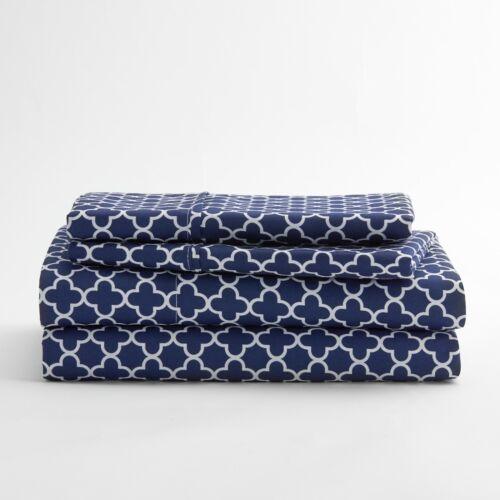 4 Piece Quatrefoil Pattern Bed Sheet Set Premium by iEnjoy Hotel Collection