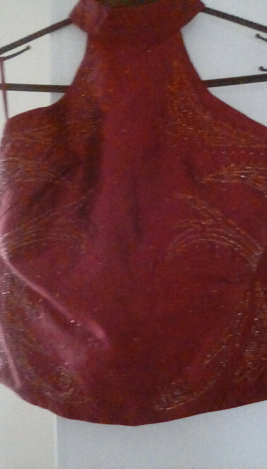 Pure Silk French Connection Maroon Sequinned Halter Top szL