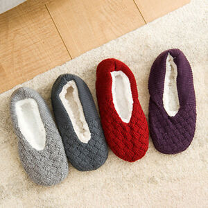 ea4c3b1f5 Womens Cable Knit Plush Slippers House Shoes Fuzzy Soft Warm Indoor ...