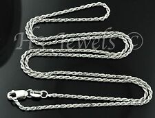 4.50 grams 14k solid white gold rope chain necklace 20 inches italian #1249