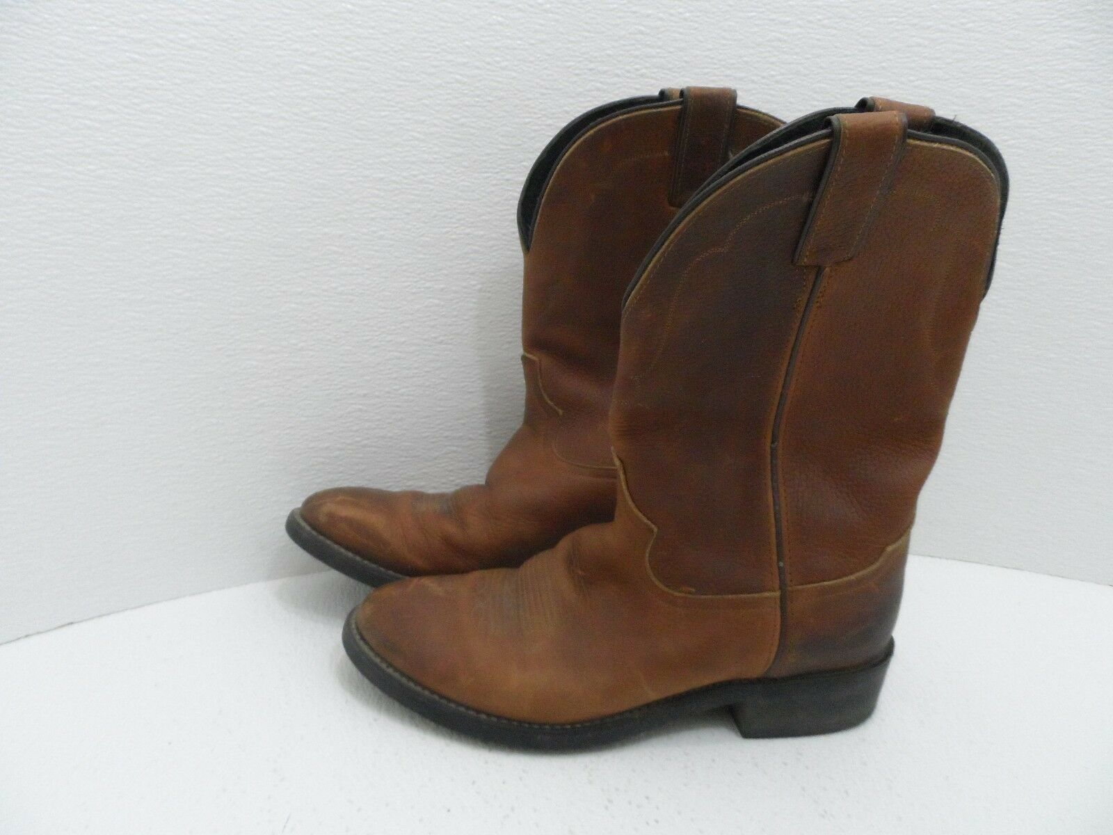 VTG. TONY LAMA Brown Pebbled Leather Cowboy Distressed Boots Mens  - Size 8.5D