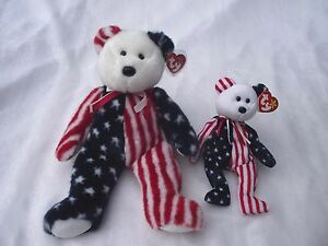 SPANGLE-BEAR-Ty-Beanie-Babies-amp-Buddy-Patriotic-Bear-w-Tags-4th-of-July-Flag