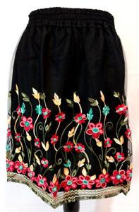Fiore Medium Gonna velato Agosto Nero Donna Taglia Ricamato floreale Setoso di seta xSwqq18X