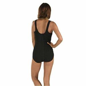 Speedo Women's Pebble Texture One Piece Swimsuit with, Speedo Black, Size  AIBM