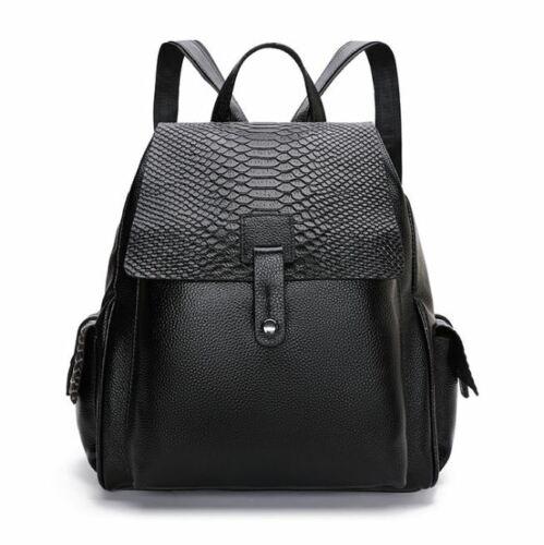 New Fashion Women/'s Genuine Cow Leather Backpack Handbag Travel Black M