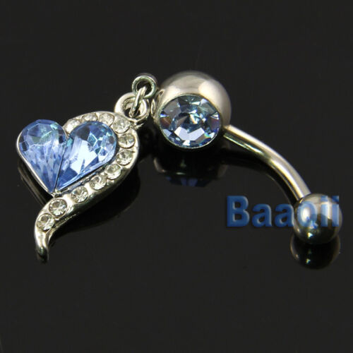 1 Bleu Strass Coeur Dangle Surgical Steel Belly Navel Bar Ring Body Ma