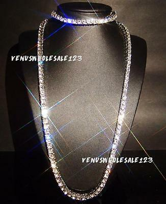 18k White Gold Filled 1 row Clear CZ IcedOut Tennis Chain Necklace+Bracelet Set