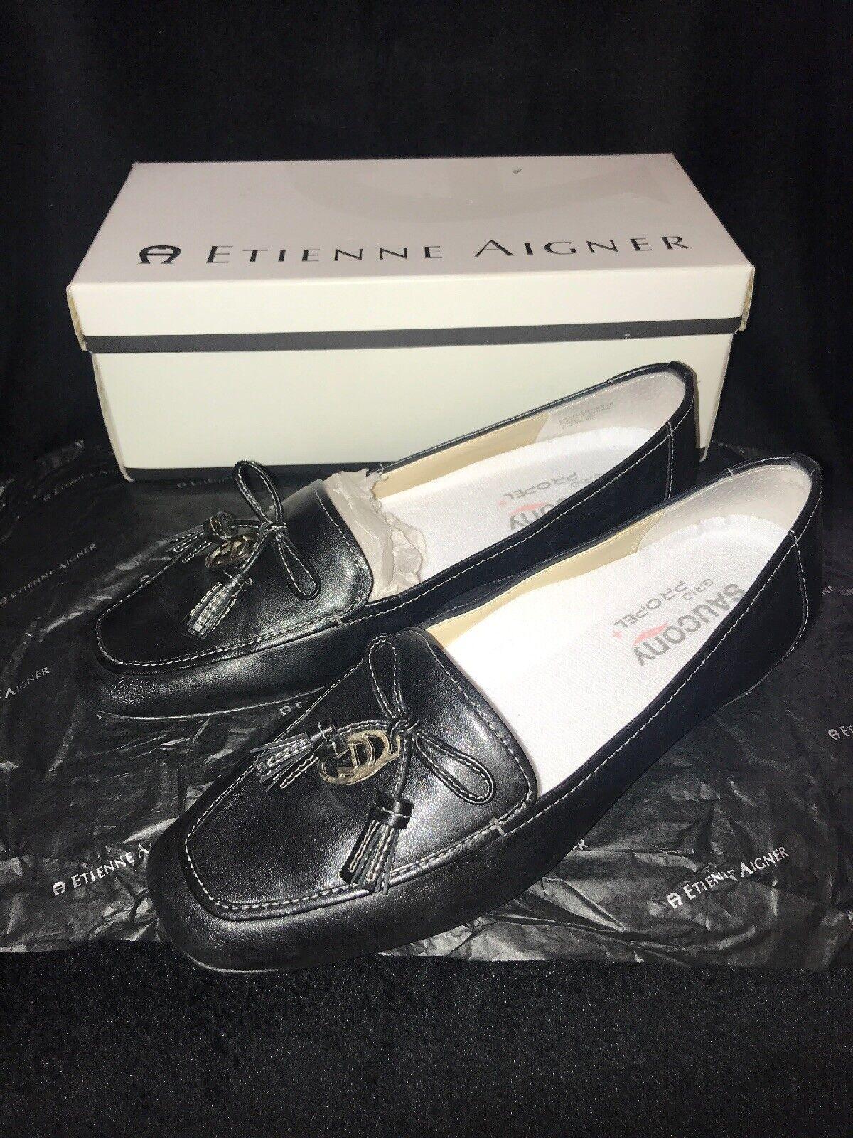 Etienne aigner, cuero negro, zapatos recreativos, talla 8m, fluidos raros y únicos.