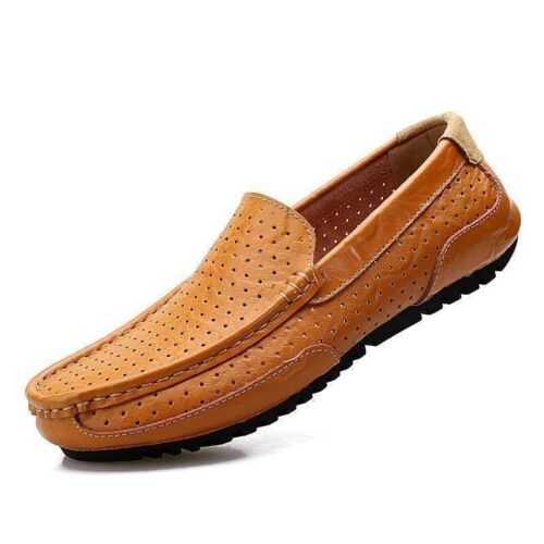 Vintage Mens casual slip on loafer breathable leather Moccasins driving shoes