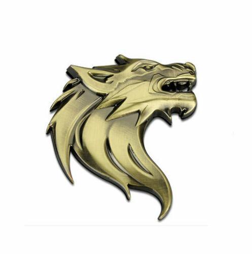 Car Styling Metal Wolf Head Motor Grille Badge Car Sticker 3D Auto Decal Emblem