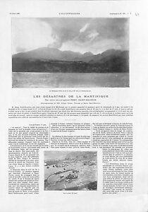 Desastre-Martinique-Montagne-Pelee-Usine-Guerin-Riviere-Roxelane-GRAVURE-1902