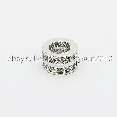 Two Rows Clear Zircon Gemstones Pave Rondelle Bracelet Connector Charm Beads