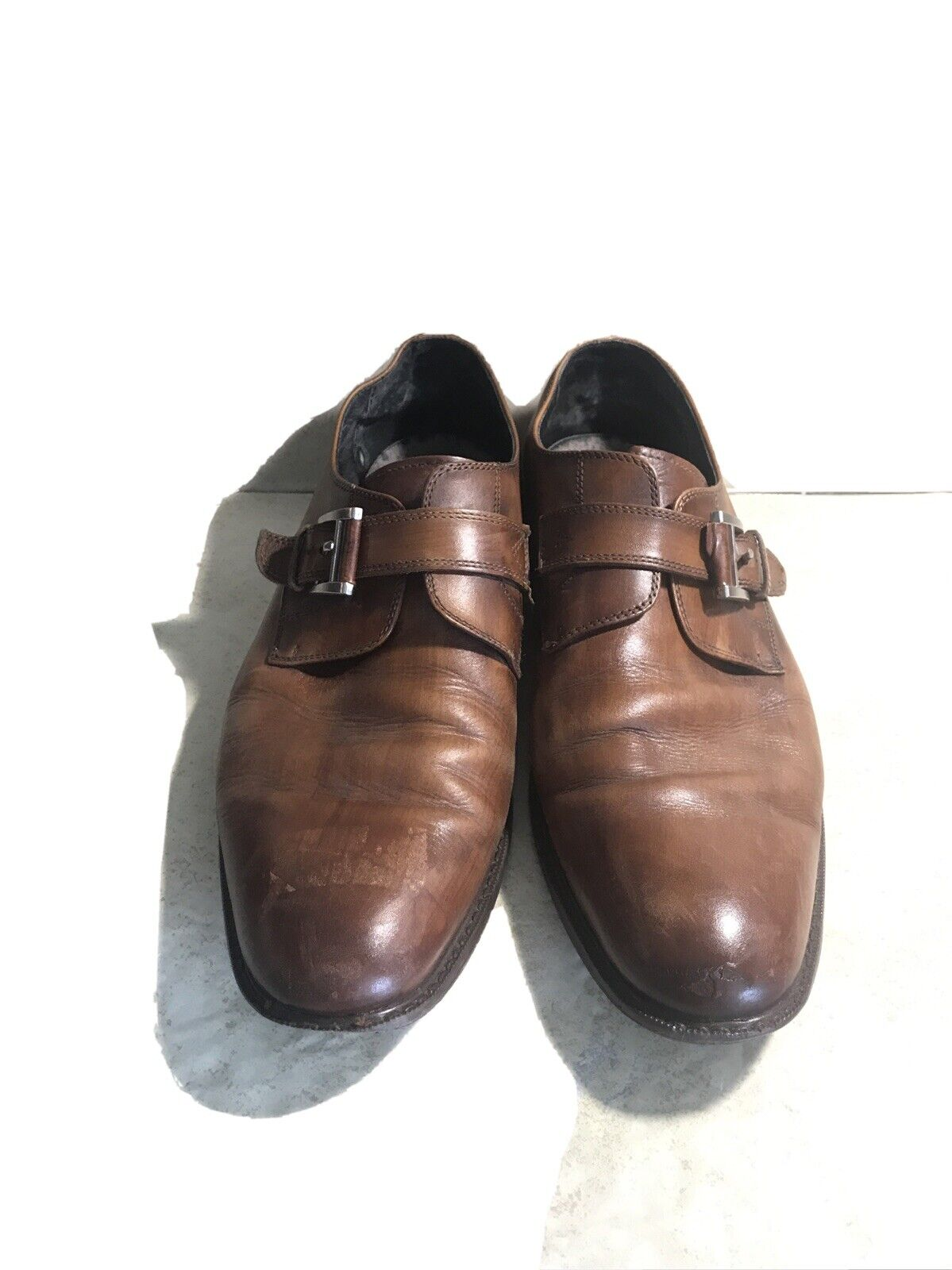 Joseph Abboud Will II Collection Mens Dress Shoe Size 12 Brown Dark Tan Leather