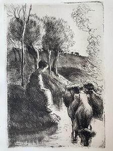 Camille pissarro etching engraving eau forte etching vachere au bord de l' eau