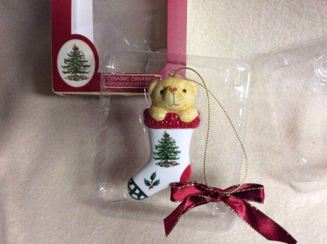 Spode Christmas Tree Ornament Teddy Bear In Stocking Red