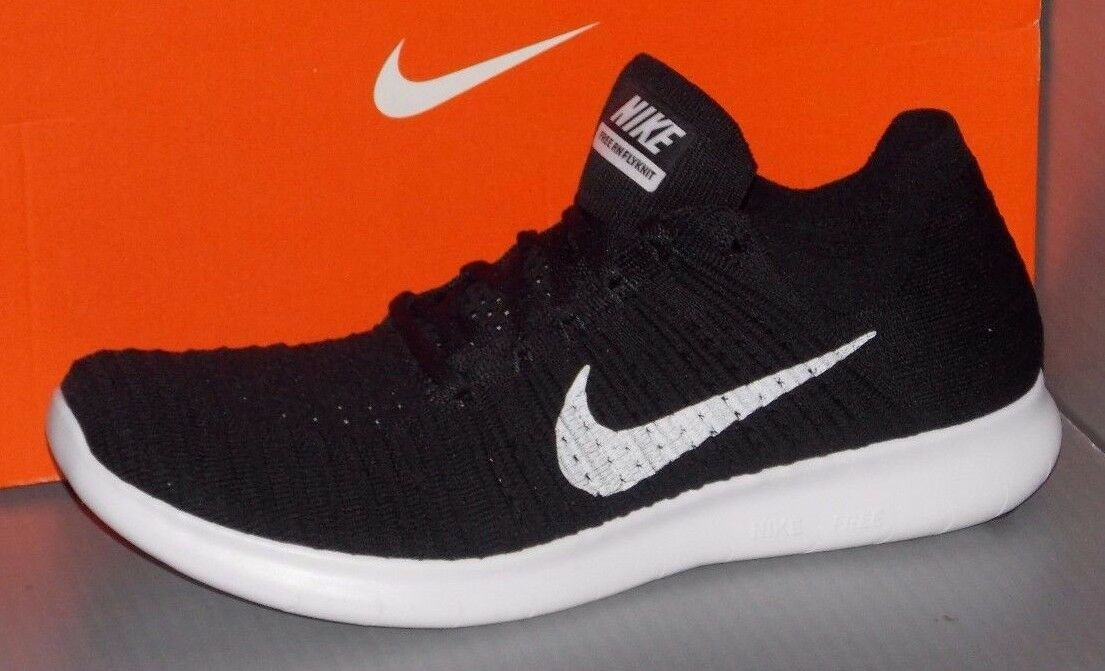 MENS NIKE FREE RN FLYKNIT in colors BLACK / WHITE SIZE 10.5