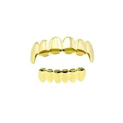 Vampire Fang Teeth 14k Gold Plated Plain Top And Bottom Hip Hop Mouth Grillz Set