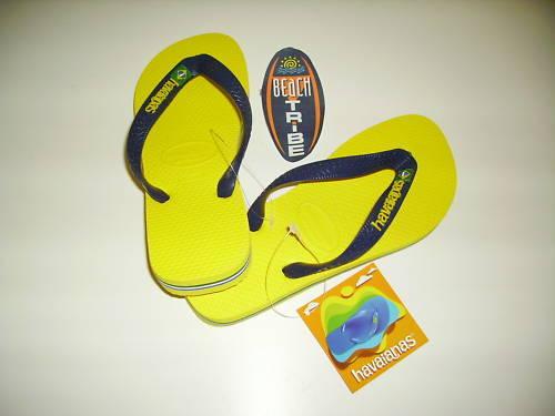 642d358a475d Havaianas Brasil Logo Flip Flops Beach Sandals Unisex Citrus Yellow UK 5