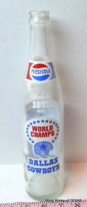 Pepsi-Cola-Glass-Bottle-Dallas-Cowboys-World-Champions-1971-Vintage