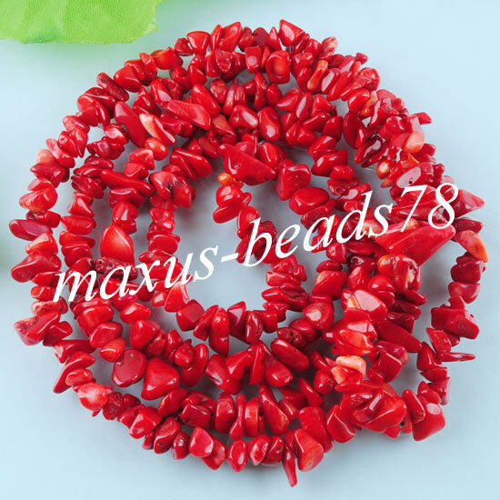 "Red Coral Chips Gem 5~8mm Beads 35 "" Strand Bracelet or Necklace Making MG436"