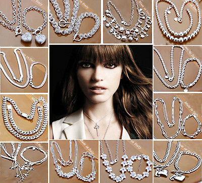 wholesale jewelry solid SILVER 925/necklace/ bracelet set + Gift Box