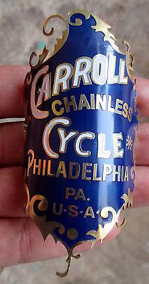 Carroll Chainless Cycle Bike Badge BRASS HAND MADE 1890s 1920s Emblem Bike