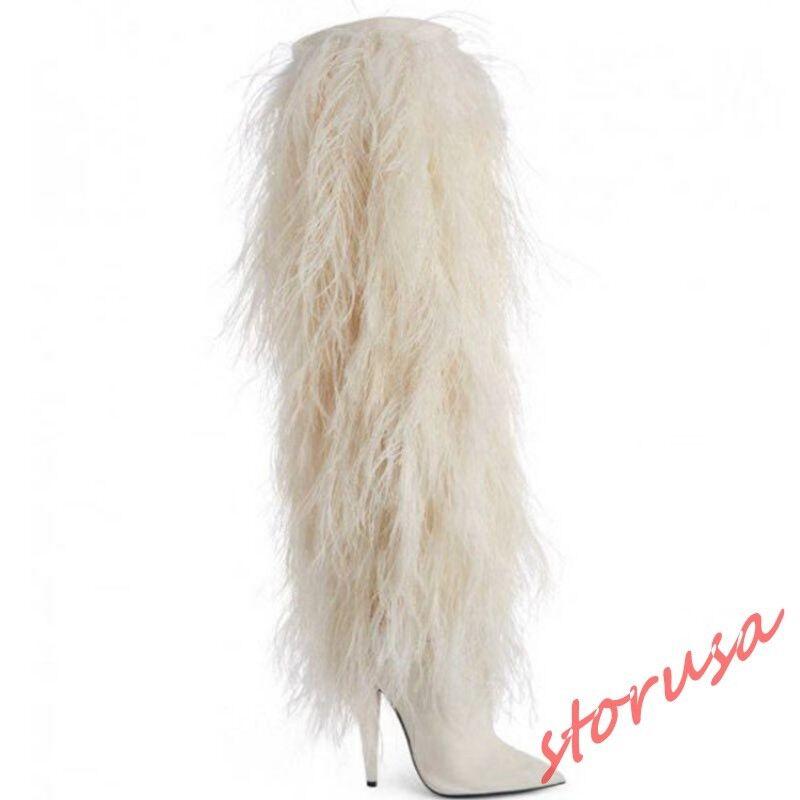 Sconto del 70% donna Fur stivali Pointy Toe High Stiletto Heels Heels Heels Knee High stivali Eunway scarpe sz  migliori prezzi e stili più freschi