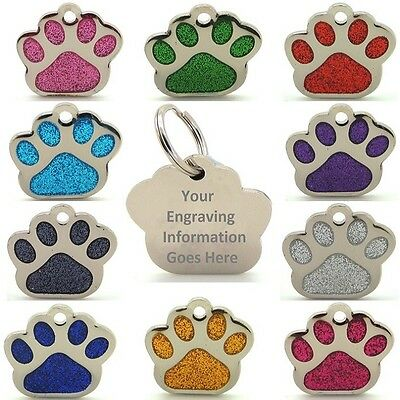 Pet ID Tags, Personalised Reflective Glitter Dog Paw Shape-ENGRAVED Option