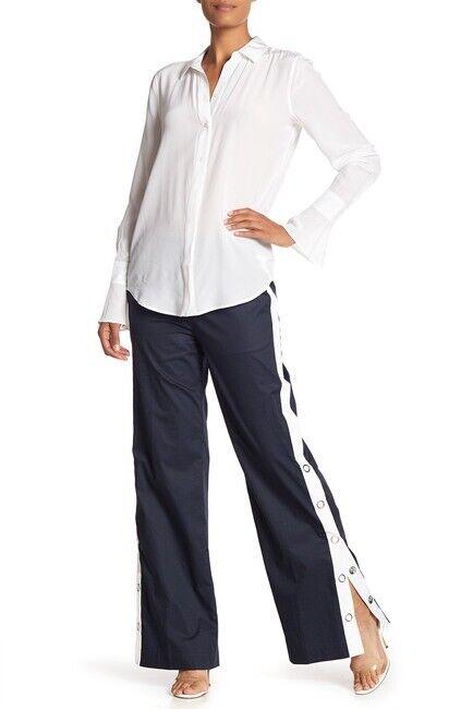 NEW Equipment Arwen Wide Leg High Rise Navy Cotton Pants Eclipse SZ S P   298