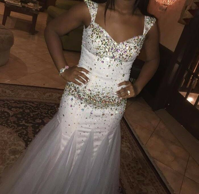 sequenced white prom dress - image 2