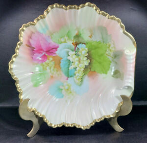 Antique-Prussia-Crown-B-Mark-1920s-10-034-Art-Deco-Curled-Edge-BOWL-Hand-Painted