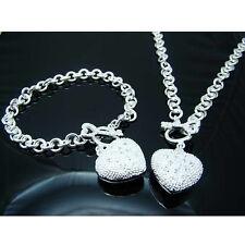 """Fashion Jewelry 925Sterling Silver Lovely Zircon Heart Women Necklace 18"""" NB715"""